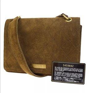 Chanel suede Logo Shoulder Bag